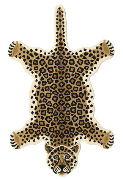 Leopard - Μπεζ Χαλι 100X160 Σύγχρονα Μαύρα/Ανοιχτό Καφέ/Μπεζ (Μαλλί, Ινδικά)
