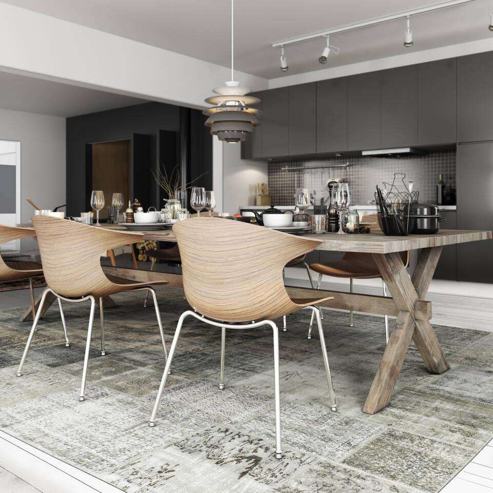 Μαύρο / γκρίζο, στενόμακρο χαλι patchwork - turkiet στο κουζίνα.