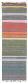 Rainbow Stripe - Γκρι Χαλι 80X250 Σύγχρονα Χειροποίητη Ύφανση Χαλι Διαδρομοσ Σκούρο Γκρι/Ανοιχτό Γκρι (Βαμβάκι, Ινδικά)