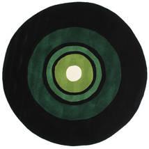 Schallplatte Handtufted Χαλι Ø 150 Σύγχρονα Στρογγυλο Σκούρο Πράσινο (Μαλλί, Ινδικά)