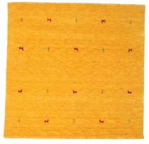 Γκάμπεθ Loom Two Lines - Yellow Χαλι 200X200 Σύγχρονα Τετράγωνο Πορτοκαλί/Λευκό/Κρεμ (Μαλλί, Ινδικά)