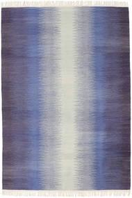 Ikat - Σκούρο Μπλε Χαλι 140X200 Σύγχρονα Χειροποίητη Ύφανση Μωβ/Ανοιχτό Γκρι/Ανοικτό Μωβ (Μαλλί, Ινδικά)