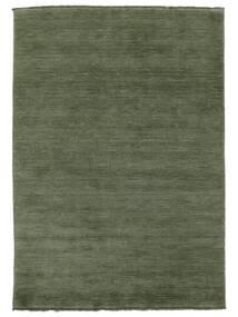 Χειροκίνητου Αργαλειού Fringes - Πράσινο Του Δάσους Χαλι 160X230 Σύγχρονα Σκούρο Πράσινο/Σκούρο Πράσινο (Μαλλί, Ινδικά)