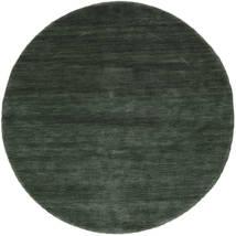 Χειροκίνητου Αργαλειού - Πράσινο Του Δάσους Χαλι Ø 150 Σύγχρονα Στρογγυλο Σκούρο Πράσινο/Σκούρο Πράσινο (Μαλλί, Ινδικά)