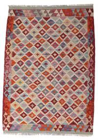 Κιλίμ Afghan Old Style Χαλι 104X147 Ανατολής Χειροποίητη Ύφανση Ανοιχτό Γκρι/Σκούρο Κόκκινο (Μαλλί, Αφγανικά)