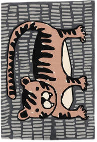 Cool Cat - Γκρι/Ροζ Χαλι 120X180 Σύγχρονα Σκούρο Γκρι/Ανοιχτό Γκρι (Μαλλί, Ινδικά)