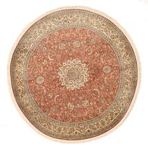 Kashmir Καθαρό Μετάξι Χαλι Ø 180 Ανατολής Χειροποιητο Στρογγυλο Καφέ/Σκούρο Κόκκινο (Μεταξωτά, Ινδικά)